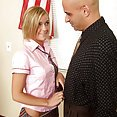 Naughty blonde school girl wraps warm lips around professors package - image