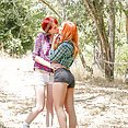 Outdoor Creampie Redhead Threesome - image