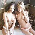 Petite Latina and blonde go at it - image