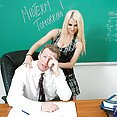Natural busty student massages her teacher - image