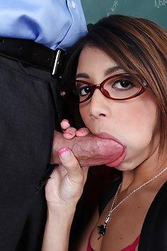 Latina Student Sucking Teachers Hard Bone