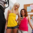 Hot Students Khlow and Maia and the Teachers Cock - image
