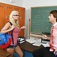 Tiny Blond Takes Teachers Cock Balls Deep - image
