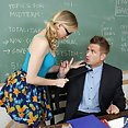 Sexy blonde bookworm fucks her teacher - image