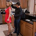 Busty blonde cougar fucks worker in the kitchen. - image