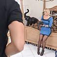 He Rips Her Pantyhose to Fuck Her Hot MILF Pussy - image