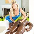 Beautiful blonde loves massaging BBC - image
