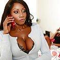 Busty Ebony MILF Takes a Big White Cock - image