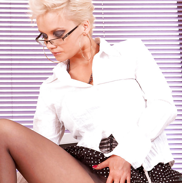 Horny Office Lady Stokes Her Slit