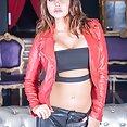 Biker chick Anna Polina enjoys threesome & DP - image