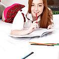 Redhead Schoolgirl Gets Naked - image